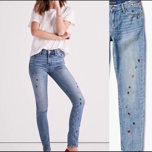 Luck Brand Skinny Jean Ditsy Bug Embroidery